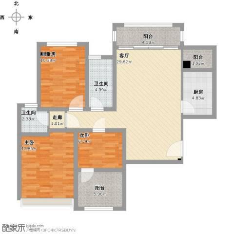 光谷8号3室1厅2卫1厨123.00㎡户型图