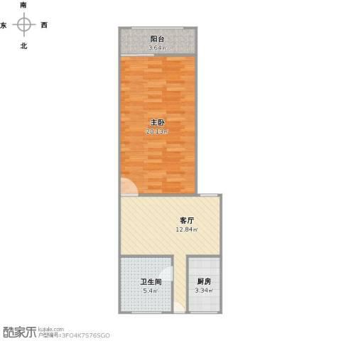 艾山新村1室1厅1卫1厨61.00㎡户型图