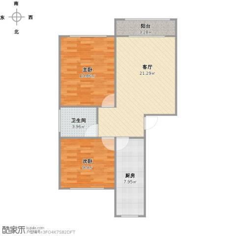 浦发绿城2室1厅1卫1厨80.00㎡户型图
