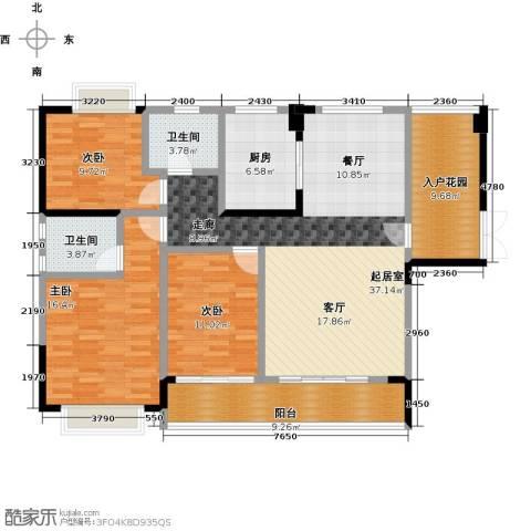 新地东方明珠3室0厅2卫1厨136.00㎡户型图