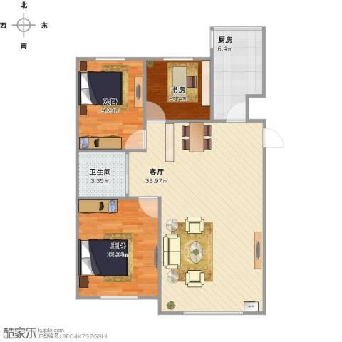 像素公园3室1厅1卫1厨95.00㎡户型图