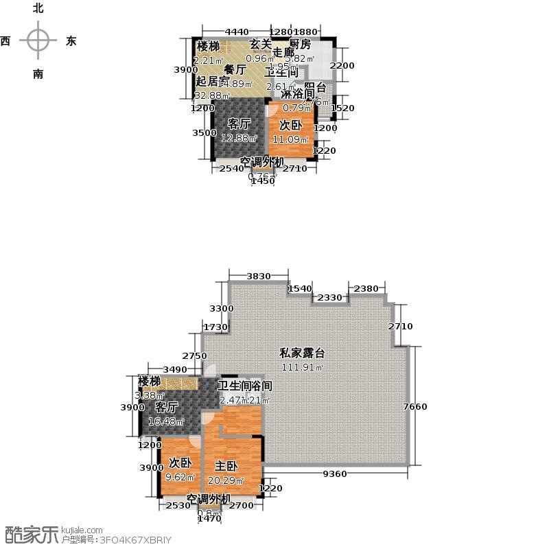 华发新城153.00㎡J1b上跃户型 3室2厅户型3室2厅2卫