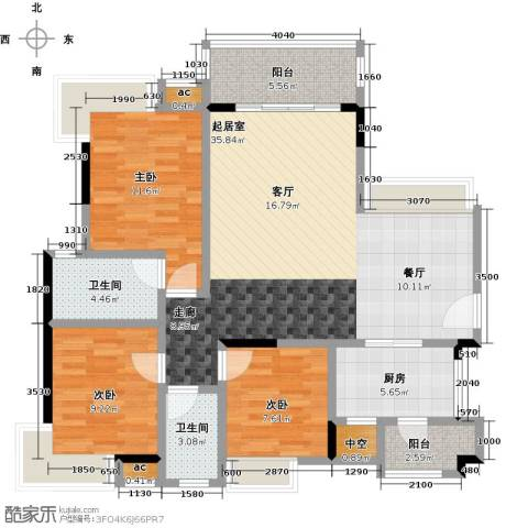 丽景名筑3室0厅2卫1厨113.00㎡户型图