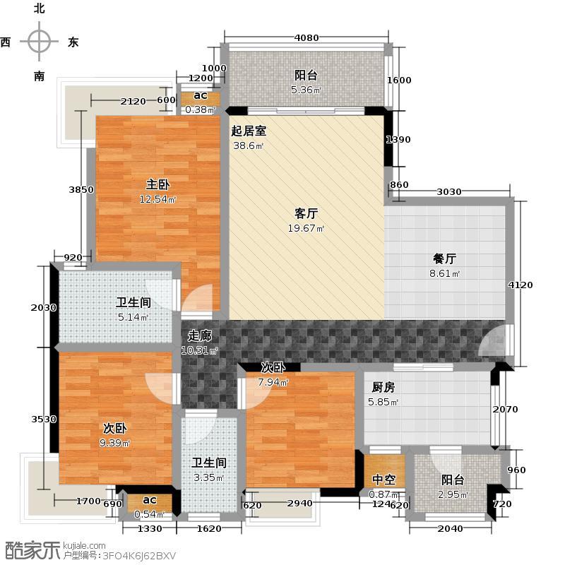 丽景名筑113.07㎡12座01、02房113.07平米三房两厅两卫户型3室2厅2卫