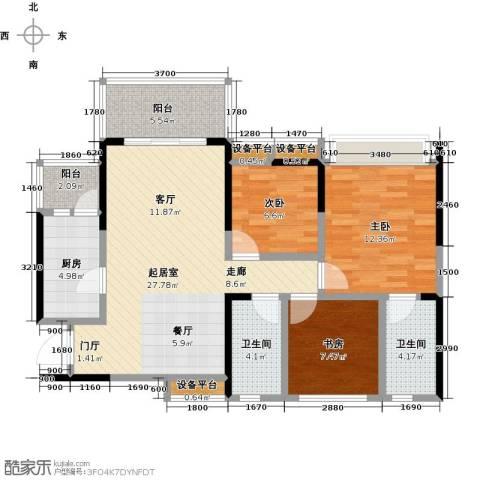 璐易豪庭3室0厅2卫1厨88.79㎡户型图