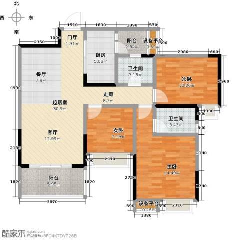 璐易豪庭3室0厅2卫1厨96.00㎡户型图
