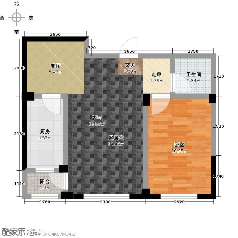 嵩森平安里59.99㎡一室两厅户型
