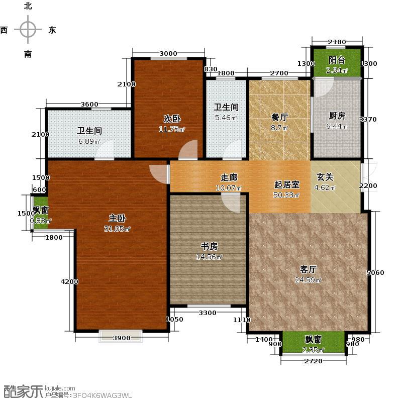 富力津门湖二期163.00㎡售罄 观鹭8号楼三室二厅二卫163平米户型