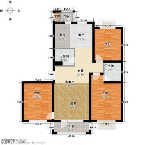 新发翡翠花溪3室1厅2卫0厨126.00㎡户型图