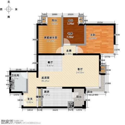 时代紫芳(竹园)2室0厅1卫1厨117.00㎡户型图