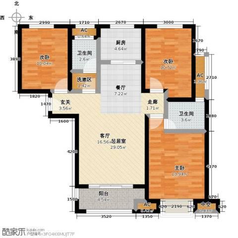科达府左华苑3室0厅2卫1厨122.00㎡户型图