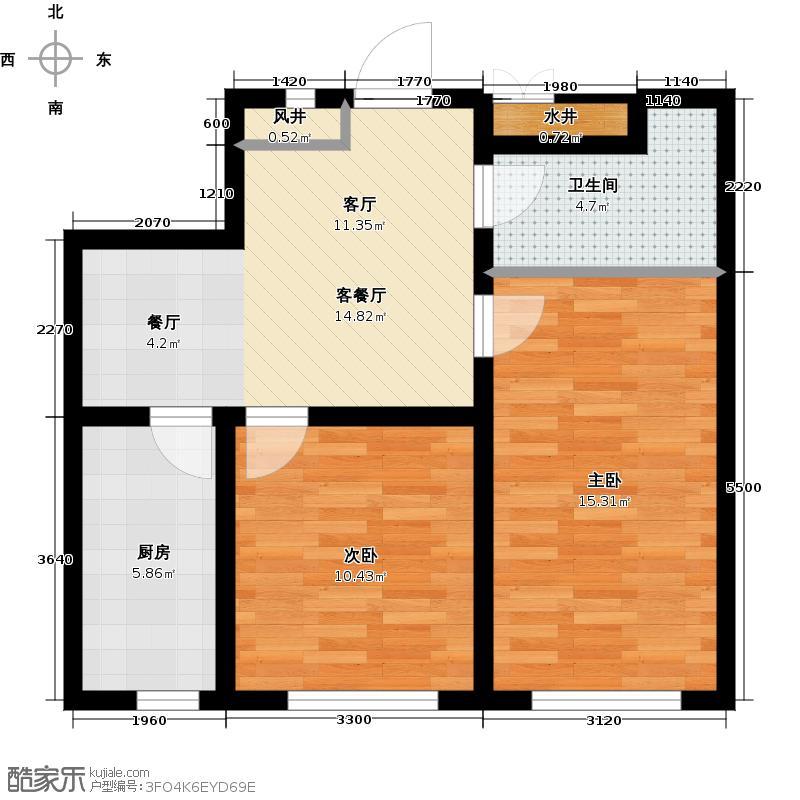 御景名家61.00㎡E户型2室1厅1卫