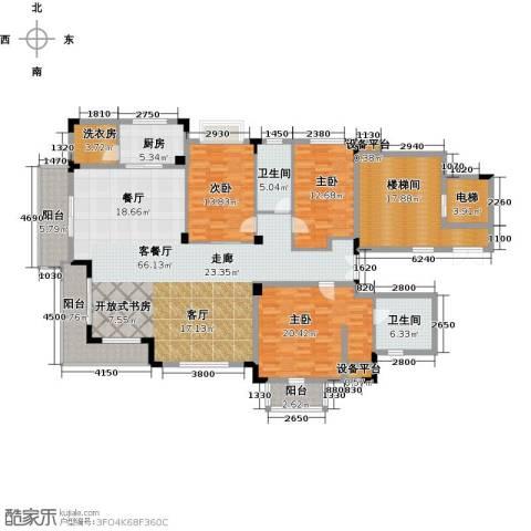 新地阿尔法国际社区3室1厅2卫1厨194.00㎡户型图