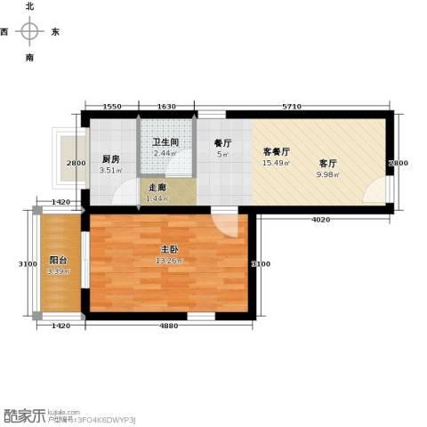 阳光雅筑1室1厅1卫1厨56.00㎡户型图