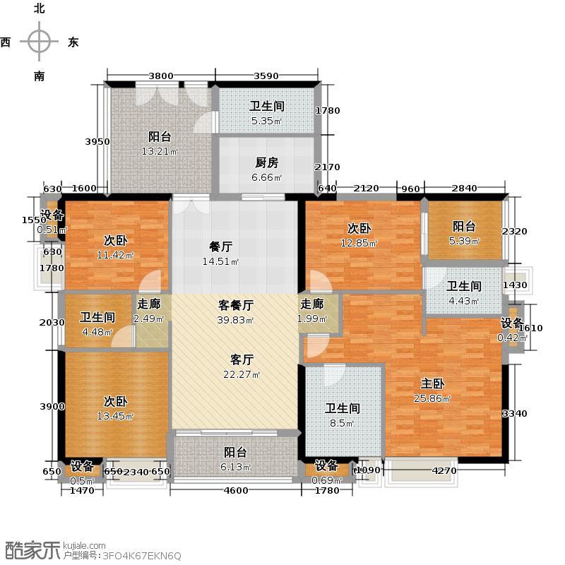 富力公园28B1栋01单元户型4室1厅4卫1厨