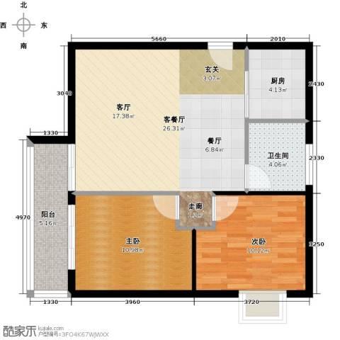 阳光雅筑2室1厅1卫1厨77.00㎡户型图