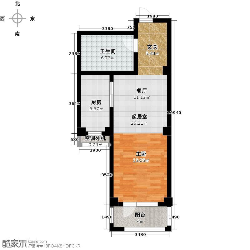 安邦北湾一期53.00㎡一室一厅一卫户型
