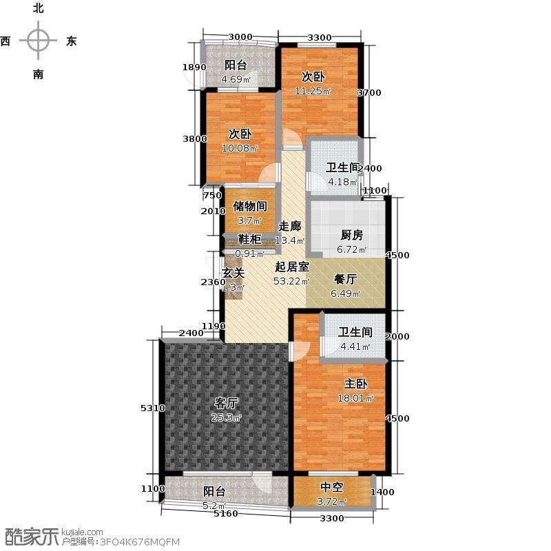 热岛黄金海岸160.60㎡三室二厅户型