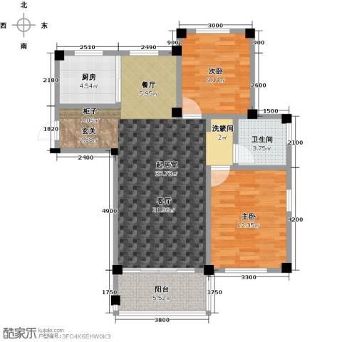 远洋假日养生庄园2室0厅1卫1厨90.00㎡户型图