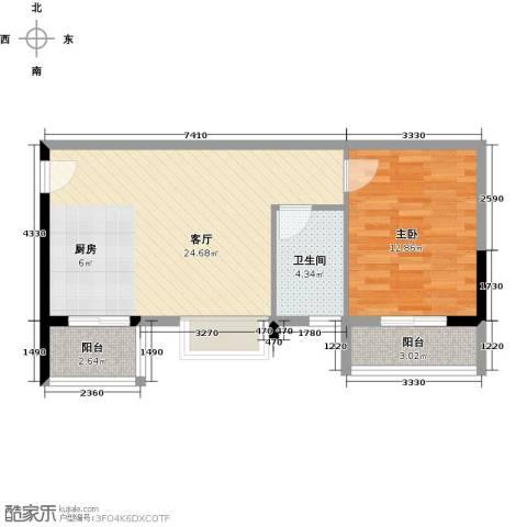 日出观山1室1厅1卫0厨54.00㎡户型图