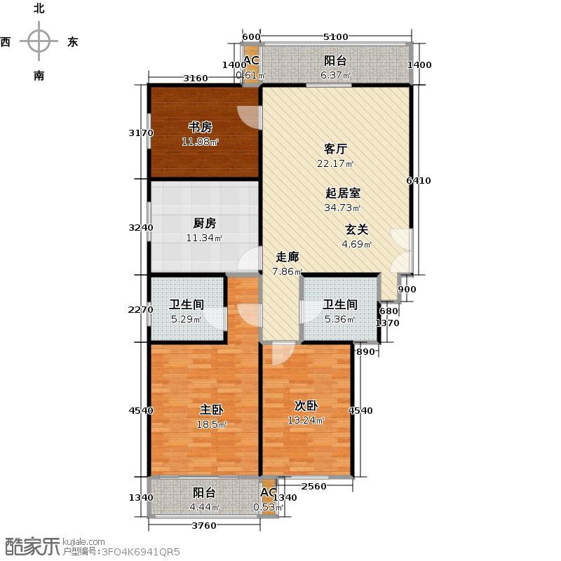 圣水湖畔3室2厅2卫户型
