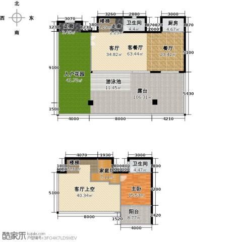 东能银滩1室1厅2卫1厨344.00㎡户型图