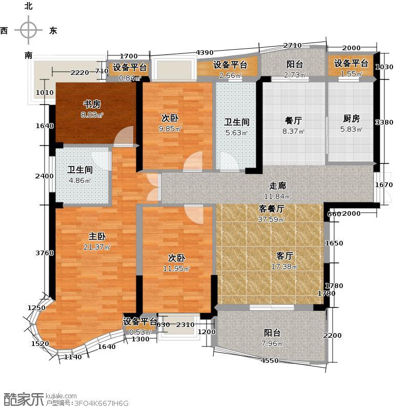南昌铜锣湾广场153.07㎡7号楼A户型4室2厅2卫