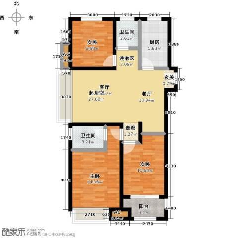 科达府左华苑3室0厅2卫1厨118.00㎡户型图