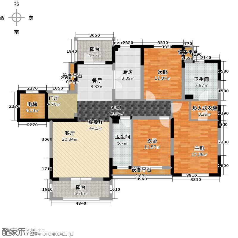 新地阿尔法国际社区户型3室1厅2卫1厨