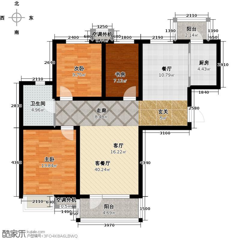 安邦北湾一期100.00㎡三室两厅一卫户型