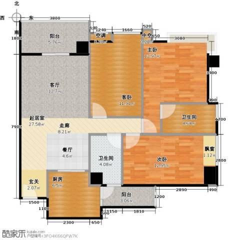 广弘天琪3室0厅2卫1厨124.00㎡户型图