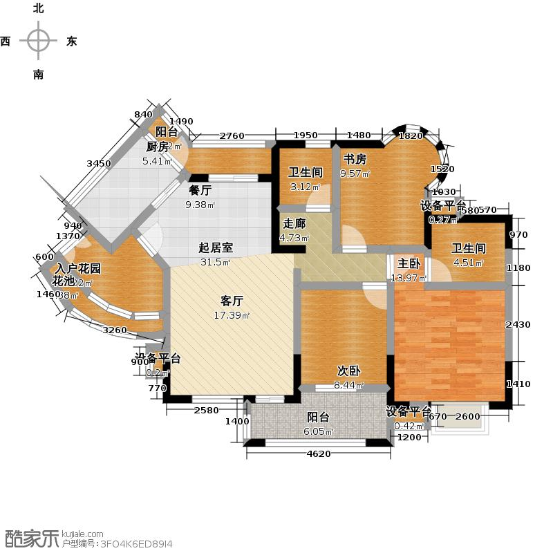 中惠香樟绿洲65栋山景、湖景户型3室2卫1厨