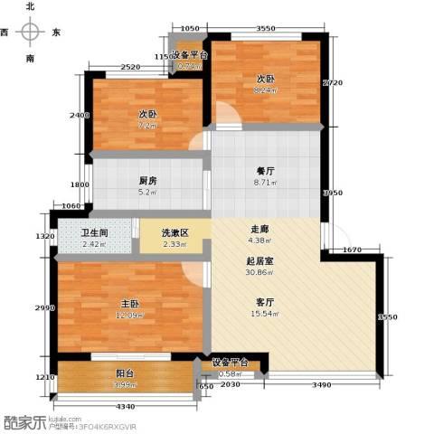 御景湾3室0厅1卫1厨82.00㎡户型图