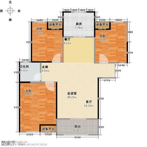 财信圣堤亚纳3室0厅1卫1厨108.00㎡户型图