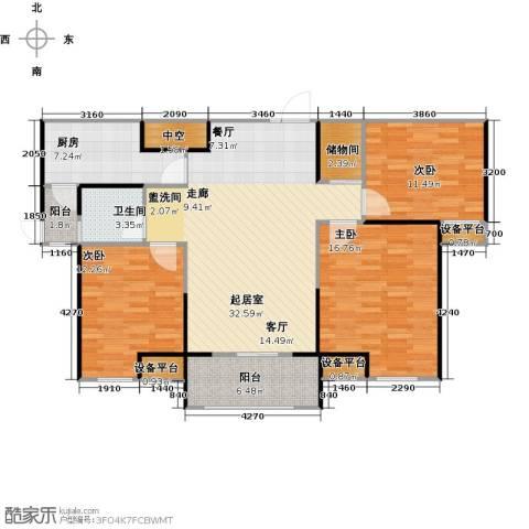 财信圣堤亚纳3室0厅1卫1厨107.00㎡户型图