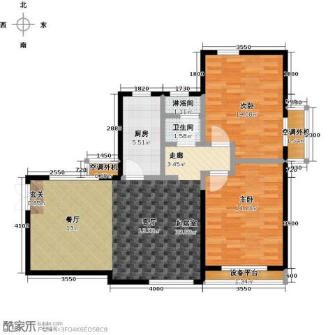 众益万国宫馆2室0厅1卫1厨105.00㎡户型图