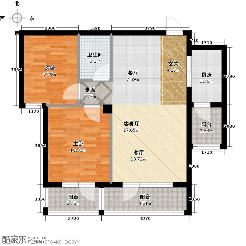 安邦北湾一期76.00㎡两室两厅一卫户型
