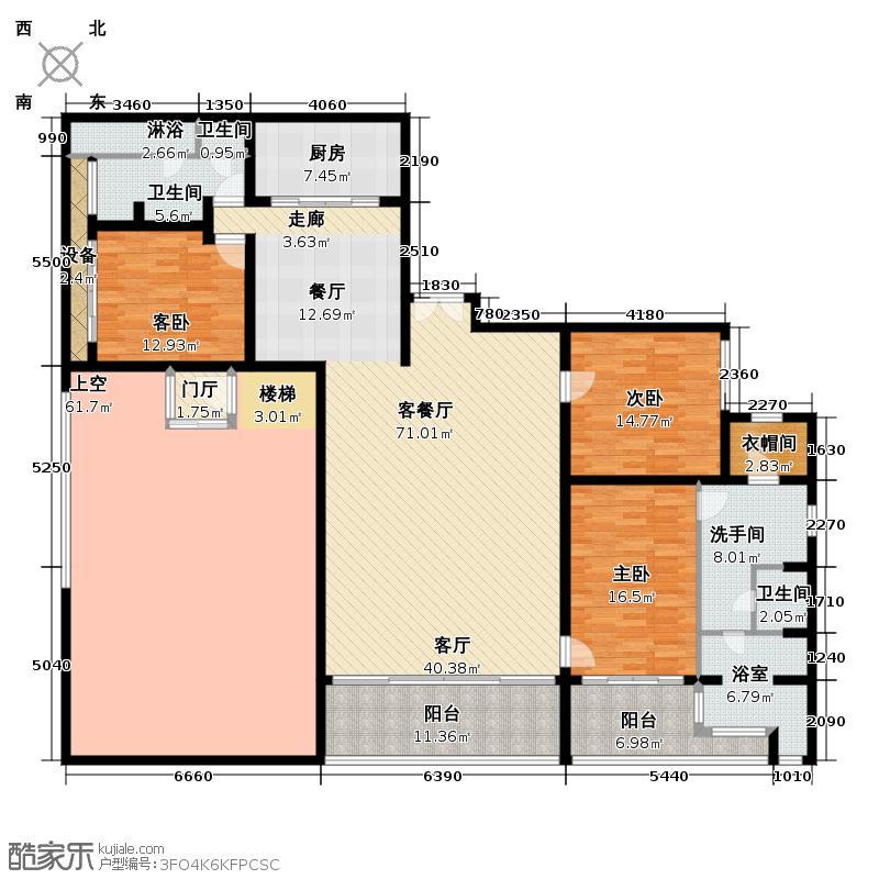 三亚湾红树林度假世界265.00㎡7#木棉酒店-H户型 三房两厅两卫户型3室2厅2卫