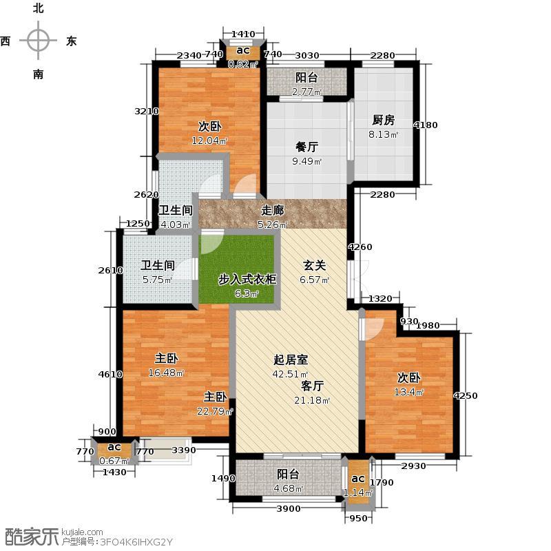 茂华爱琴海159.93㎡二期B20 户型 三室两厅两卫户型3室2厅2卫