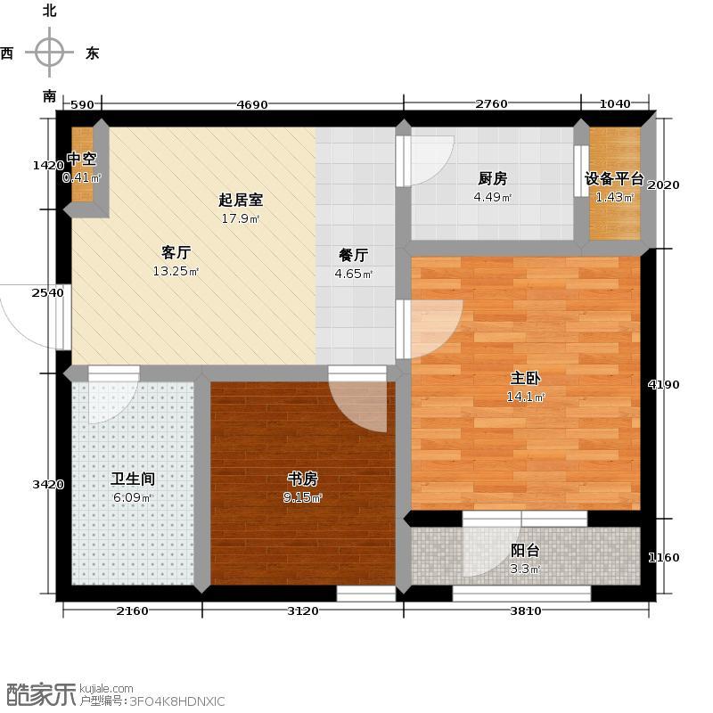 美树日记两室一厅一卫 65~67.21㎡户型