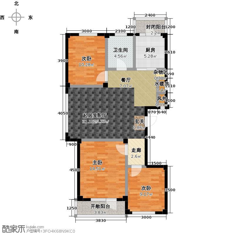 宏城嘉苑M户型 三室二厅一卫户型3室2厅1卫