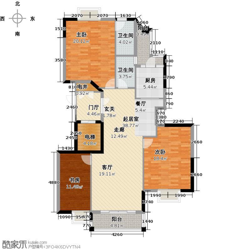 高雅湾江园双景大宅5-15层G户型3室2卫1厨