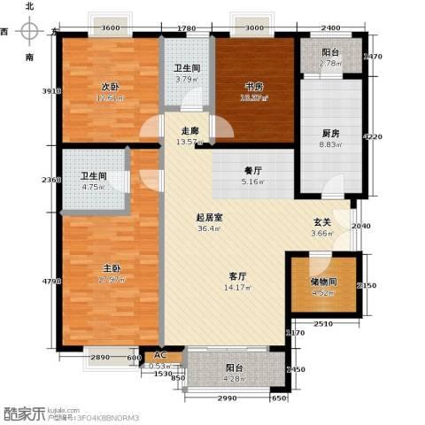 时代紫芳(竹园)3室0厅2卫1厨154.00㎡户型图