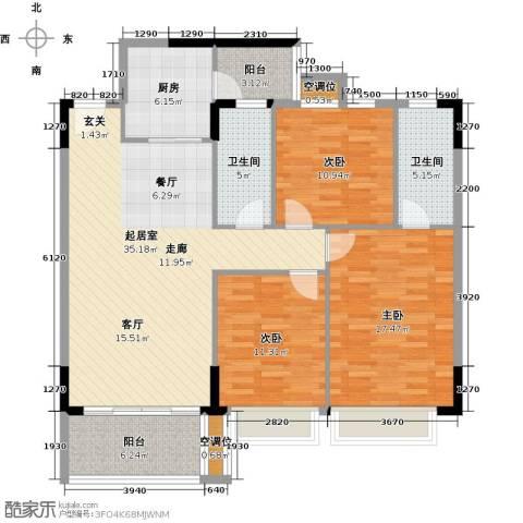 富雅都市华庭3室0厅2卫1厨114.00㎡户型图