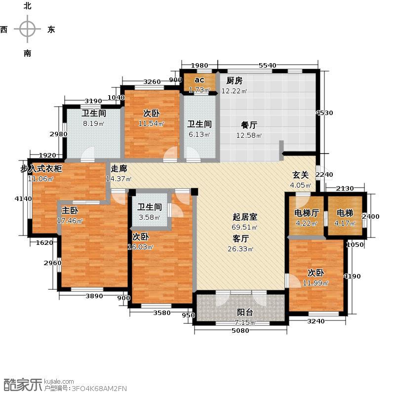 钻石湾206.00㎡四室二厅三卫户型4室2厅3卫