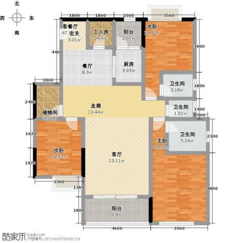 湖景壹号庄园3室1厅3卫1厨174.00㎡户型图
