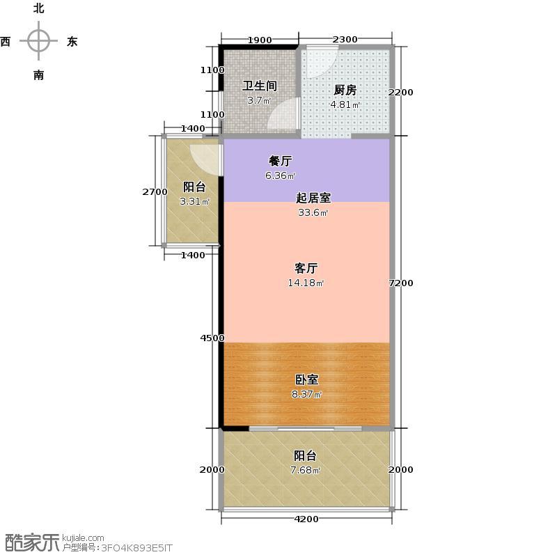 兰海・美丽新海岸59.00㎡E2一房一厅户型