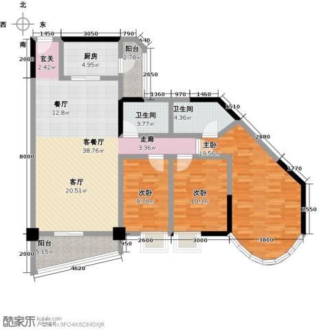 碧水湾3室1厅2卫1厨114.23㎡户型图