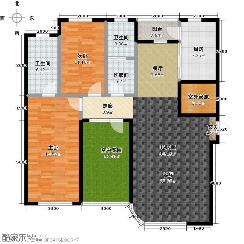 慧谷阳光F户型3室2厅1卫1厨 140.45㎡户型3室2厅1卫
