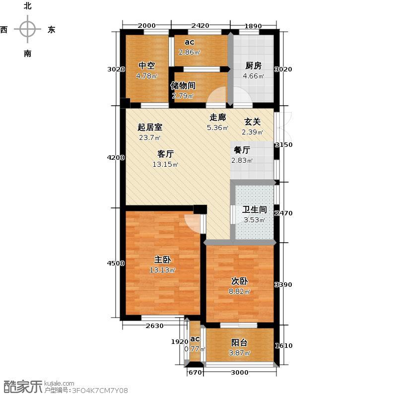 东方润园88.00㎡88平米GC-3户型2室2厅1卫
